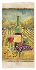 Vineyard Pinot Noir Grapes N Wine - Batik Style Beach Sheet by Audrey Jeanne Roberts