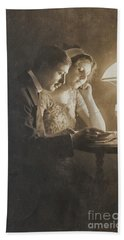 Vintage Loving Couple Reading With Oil Lamp Beach Towel