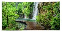 Walking Through Waterfalls - Plitvice Lakes National Park, Croatia Beach Sheet