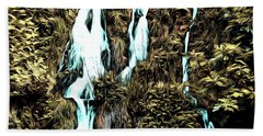 Waterfall Painting Beach Towel