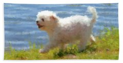 White Little Dog Beach Towel
