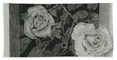 2 White Roses Beach Towel by Quwatha Valentine