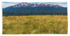 Wildflowers And Pikes Peak Beach Towel