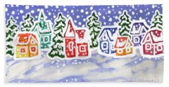 Winter Landscape With Multicolor Houses, Painting Beach Towel