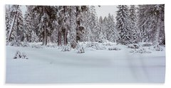 Winter Snowstorm In The Lake Tahoe Beach Towel