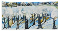 Beach Towel featuring the painting Winterland by Evelina Popilian