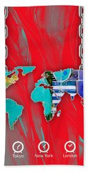 World Map Collection Beach Towel by Marvin Blaine