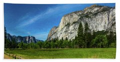 Yosemite Valley Meadow Panorama Beach Towel
