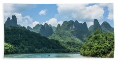 Lijiang River And Karst Mountains Scenery Beach Sheet