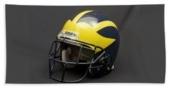 Beach Towel featuring the photograph 2000s Era Wolverine Helmet by Michigan Helmet