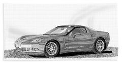 Corvette Roadster, Silver Ghost Beach Sheet by Jack Pumphrey