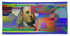 2009 Series Pop Art Colorized U. S. One Hundred Dollar Bill No. 1 Beach Towel by Serge Averbukh