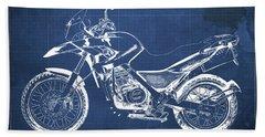 2010 Bmw G650gs Vintage Blueprint Blue Background Beach Towel