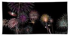 Beach Towel featuring the photograph 2013 Fireworks Over Alton by Andrea Silies