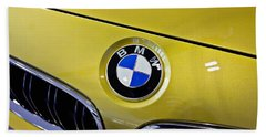 Beach Towel featuring the photograph 2015 Bmw M4 Hood by Aaron Berg
