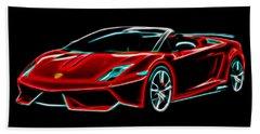Beach Towel featuring the digital art 2014 Lamborghini Gallardo by Aaron Berg