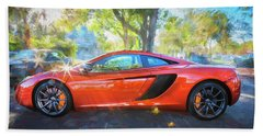 2014 Mclaren Mp4 12c Spider C196 Beach Sheet by Rich Franco