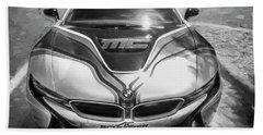 2015 Bmw I8 Hybrid Sports Car Bw Beach Sheet by Rich Franco