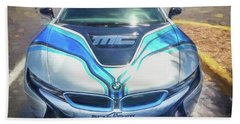 Beach Towel featuring the photograph 2015 Bmw I8 Hybrid Sports Car by Rich Franco