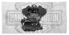 Beach Sheet featuring the digital art 2015 Harley-davidson Street-xg750 Engine With 3d Badge  by Serge Averbukh