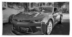 Beach Towel featuring the photograph 2017 Chevrolet Camaro Ss2 Bw by Rich Franco