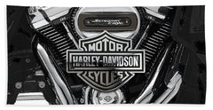 Beach Sheet featuring the digital art 2017 Harley-davidson Screamin' Eagle Milwaukee-eight 114 Engine With 3d Badge by Serge Averbukh
