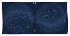2017 Pi Day Star Chart Azimuthal Projection Beach Towel