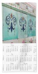 Beach Towel featuring the photograph 2017 Wall Calendar Blue Ceramic Tiles by Ivy Ho