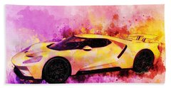 2018 Ford Gt Watercolour Whatta Ride Beach Towel