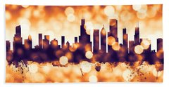 Chicago Illinois Skyline Beach Towel by Michael Tompsett
