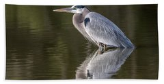 Beach Towel featuring the photograph Great Blue Heron by Tam Ryan