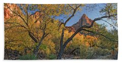 Zion National Park Beach Towel by Utah Images