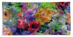 21a Abstract Floral Painting Digital Expressionism Beach Towel