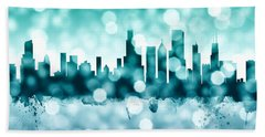 Chicago Illinois Skyline Beach Sheet by Michael Tompsett