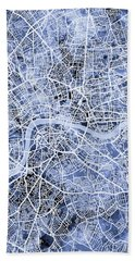 London England Street Map Beach Towel