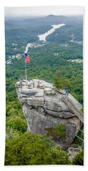 Lake Lure And Chimney Rock Landscapes Beach Towel by Alex Grichenko