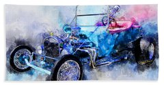 23 Model T Hot Rod Watercolour Illustration Beach Towel