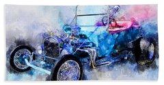 23 Model T Hot Rod Watercolour Illustration Beach Sheet