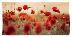 Summer Poppy Meadow Beach Towel
