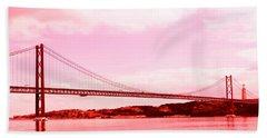 Beach Towel featuring the photograph 25 De Abril Bridge In Crimson by Lorraine Devon Wilke