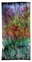 28a Abstract Floral Painting Digital Expressionism Beach Sheet