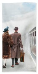 1940's Couple On A Railway Platform With Steam Train  Beach Towel