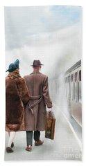 1940's Couple On A Railway Platform With Steam Train  Beach Sheet by Lee Avison