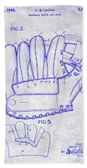 1943 Baseball Glove Patent Beach Towel by Jon Neidert
