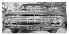 Beach Towel featuring the photograph 1961 Chevrolet Impala Ss Bw by Rich Franco