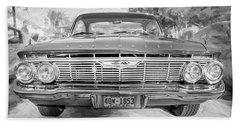 1961 Chevrolet Impala Ss Bw Beach Sheet by Rich Franco