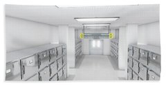 A Look Down The Aisle Of Fridges In A Clean White Ward In A Mortuary - 3d Render Beach Towel
