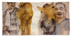 Beach Towel featuring the painting American Pharaoh Abum by Debbi Saccomanno Chan