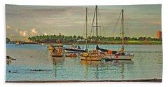 Beach Sheet featuring the digital art 3- Anchored Out by Joseph Keane