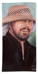 Beach Sheet featuring the painting Barry Gibb by Patrice Torrillo
